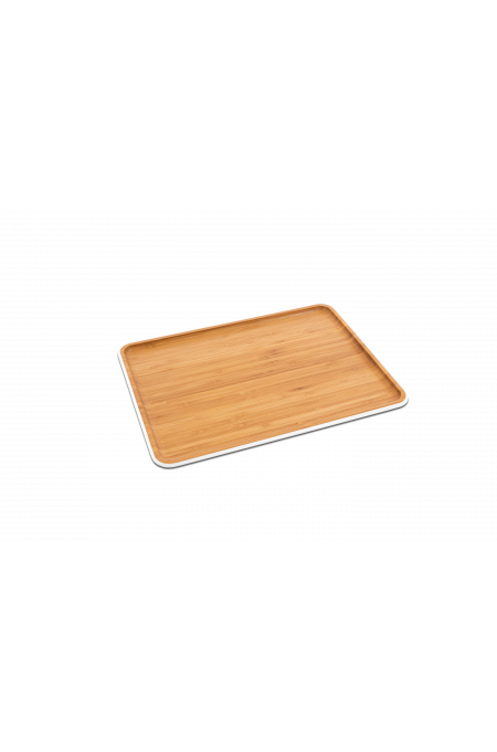 Bamboo serving tray L – white
