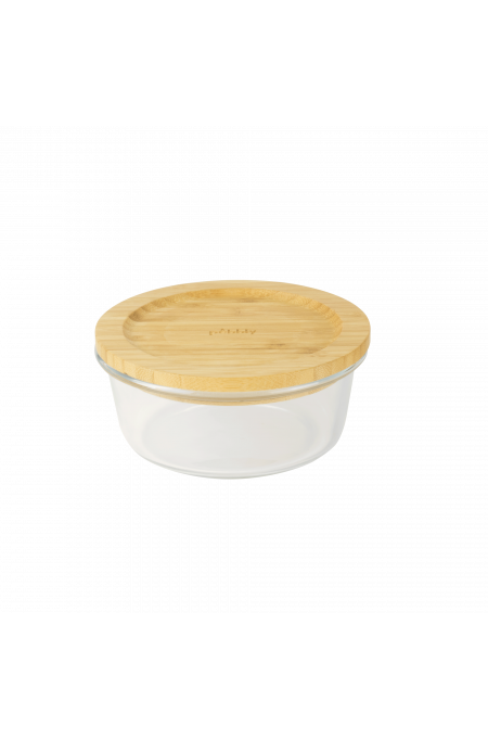 Round box in glass and bamboo